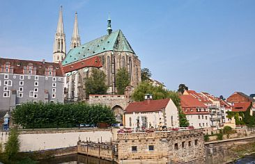 View of St. Peter's Church and city of Görlitz